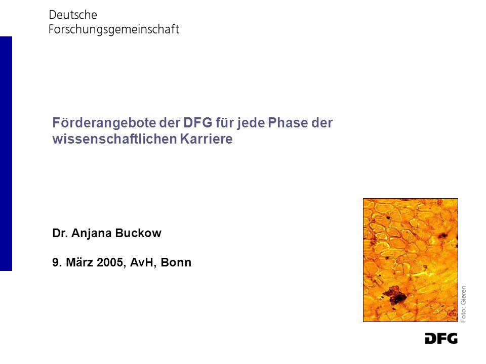 Dr. Anjana Buckow 9. März 2005, AvH, Bonn Foto: Gieren Förderangebote der DFG für jede Phase der wissenschaftlichen Karriere