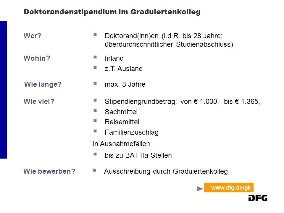 Doktorandenstipendium im Graduiertenkolleg Wer. Doktorand(inn)en (i.d.R.