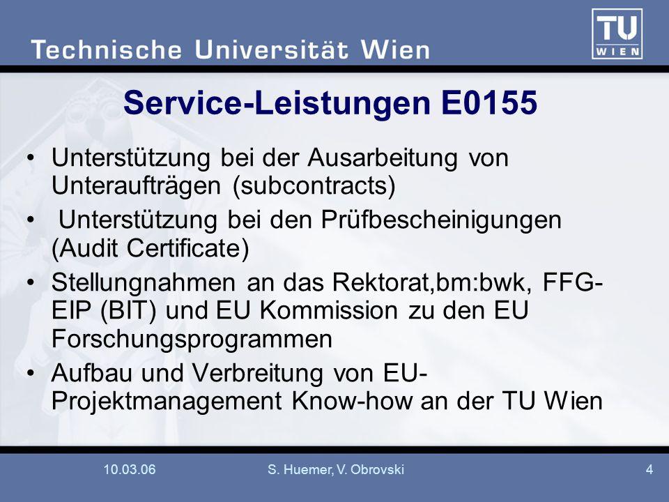 10.03.06S. Huemer, V. Obrovski4 Service-Leistungen E0155 Unterstützung bei der Ausarbeitung von Unteraufträgen (subcontracts) Unterstützung bei den Pr