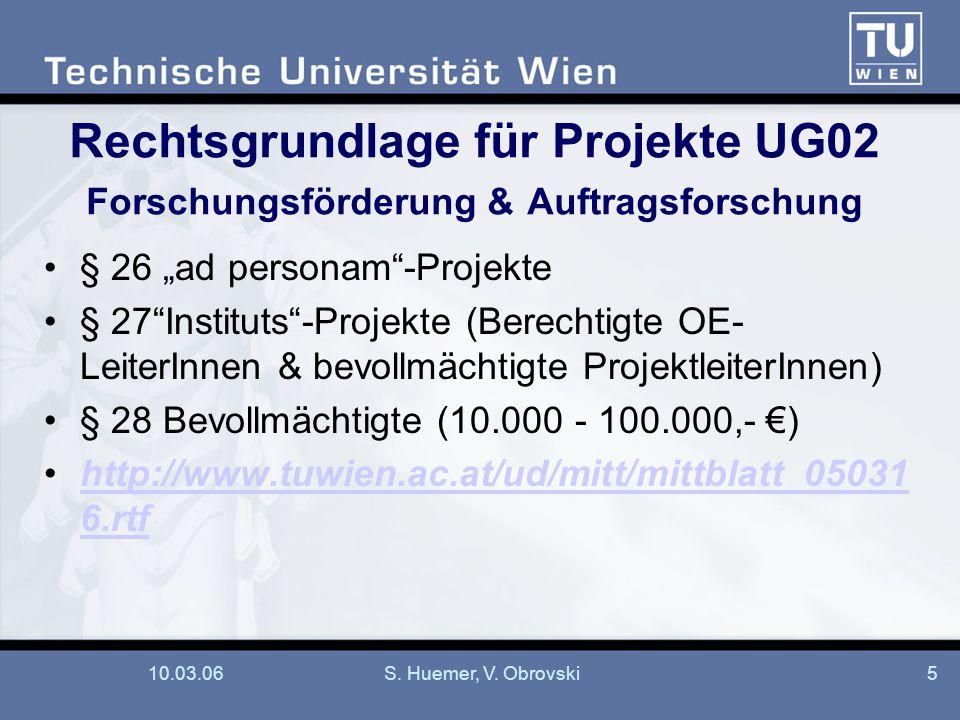"""10.03.06S. Huemer, V. Obrovski5 Rechtsgrundlage für Projekte UG02 Forschungsförderung & Auftragsforschung § 26 """"ad personam""""-Projekte § 27""""Instituts""""-"""