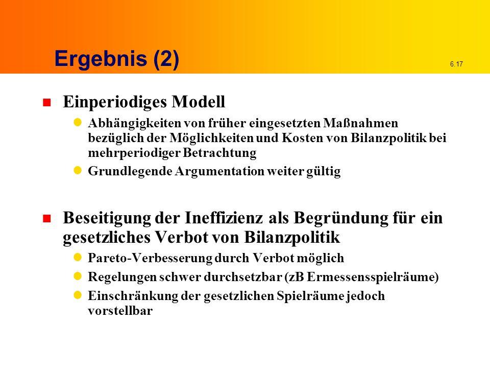 6.17 Ergebnis (2) n Einperiodiges Modell Abhängigkeiten von früher eingesetzten Maßnahmen bezüglich der Möglichkeiten und Kosten von Bilanzpolitik bei