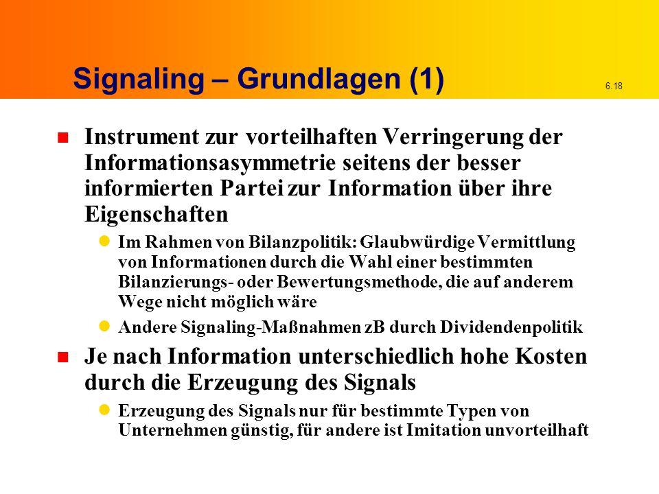 6.18 Signaling – Grundlagen (1) n Instrument zur vorteilhaften Verringerung der Informationsasymmetrie seitens der besser informierten Partei zur Info