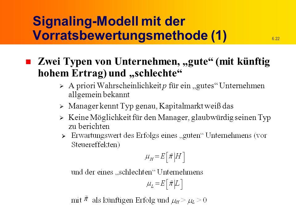 """6.22 Signaling-Modell mit der Vorratsbewertungsmethode (1) n Zwei Typen von Unternehmen, """"gute"""" (mit künftig hohem Ertrag) und """"schlechte""""  A priori"""