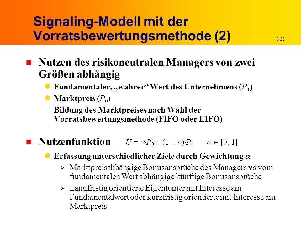 """6.23 Signaling-Modell mit der Vorratsbewertungsmethode (2) n Nutzen des risikoneutralen Managers von zwei Größen abhängig Fundamentaler, """"wahrer"""" Wert"""