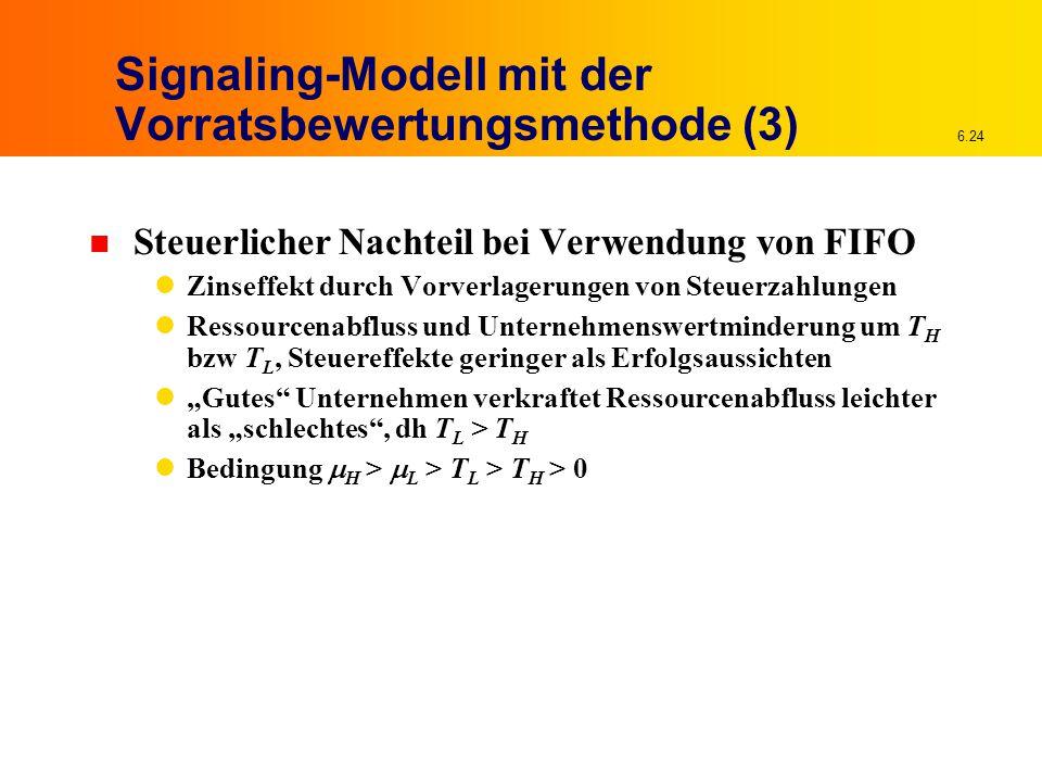 """6.24 Signaling-Modell mit der Vorratsbewertungsmethode (3) n Steuerlicher Nachteil bei Verwendung von FIFO Zinseffekt durch Vorverlagerungen von Steuerzahlungen Ressourcenabfluss und Unternehmenswertminderung um T H bzw T L, Steuereffekte geringer als Erfolgsaussichten """"Gutes Unternehmen verkraftet Ressourcenabfluss leichter als """"schlechtes , dh T L > T H Bedingung  H >  L > T L > T H > 0"""
