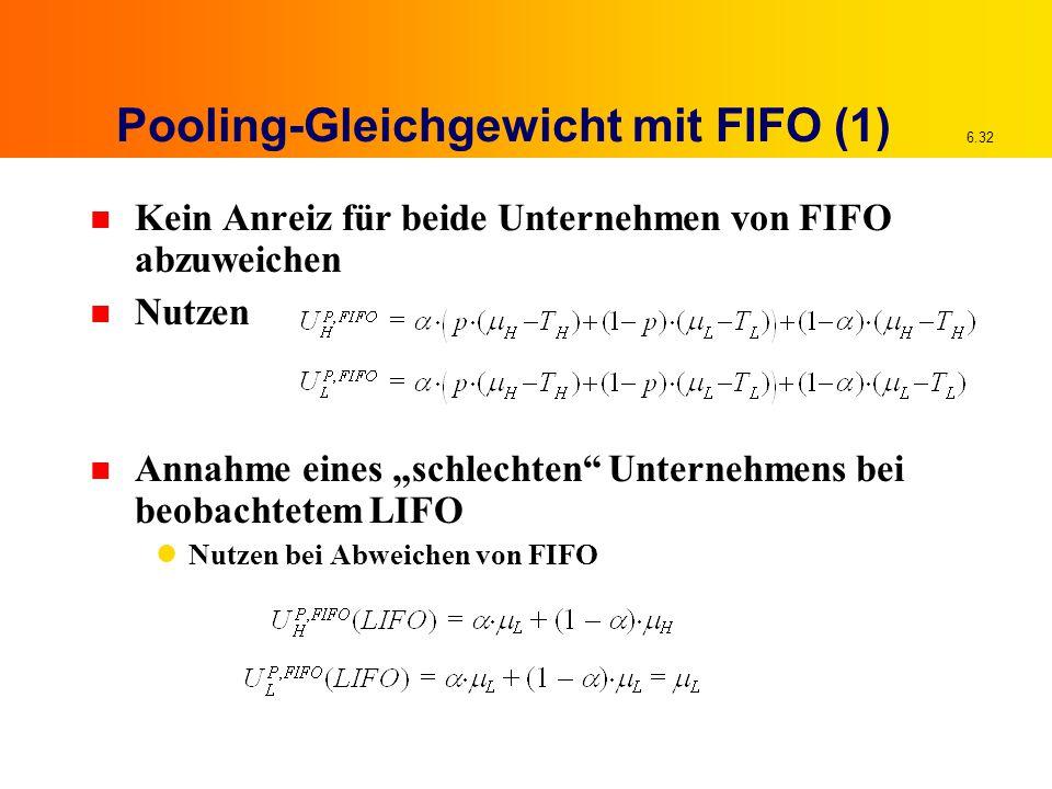 """6.32 Pooling-Gleichgewicht mit FIFO (1) n Kein Anreiz für beide Unternehmen von FIFO abzuweichen n Nutzen n Annahme eines """"schlechten Unternehmens bei beobachtetem LIFO Nutzen bei Abweichen von FIFO"""