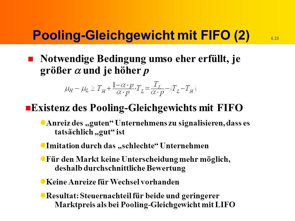 6.33 Pooling-Gleichgewicht mit FIFO (2) Notwendige Bedingung umso eher erfüllt, je größer  und je höher p n Existenz des Pooling-Gleichgewichts mit F