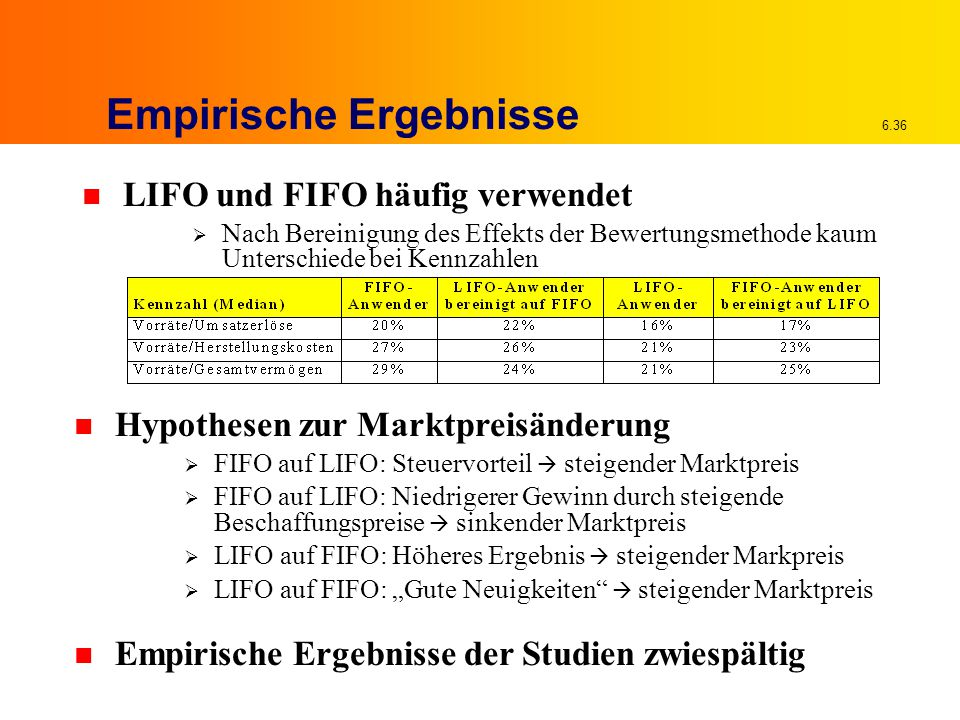 """6.36 Empirische Ergebnisse n LIFO und FIFO häufig verwendet  Nach Bereinigung des Effekts der Bewertungsmethode kaum Unterschiede bei Kennzahlen n Hypothesen zur Marktpreisänderung  FIFO auf LIFO: Steuervorteil  steigender Marktpreis  FIFO auf LIFO: Niedrigerer Gewinn durch steigende Beschaffungspreise  sinkender Marktpreis  LIFO auf FIFO: Höheres Ergebnis  steigender Markpreis  LIFO auf FIFO: """"Gute Neuigkeiten  steigender Marktpreis n Empirische Ergebnisse der Studien zwiespältig"""