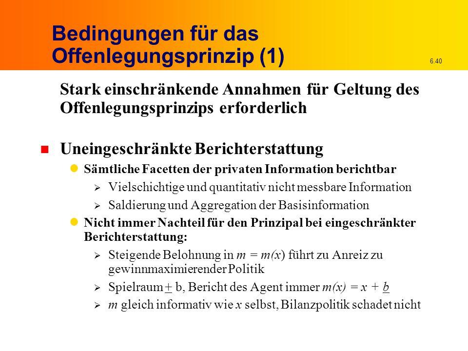 6.40 Bedingungen für das Offenlegungsprinzip (1) Stark einschränkende Annahmen für Geltung des Offenlegungsprinzips erforderlich n Uneingeschränkte Be
