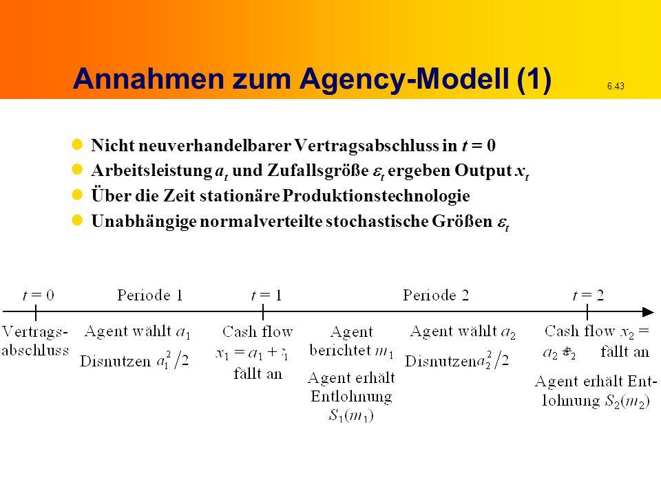 6.43 Annahmen zum Agency-Modell (1) Nicht neuverhandelbarer Vertragsabschluss in t = 0 Arbeitsleistung a t und Zufallsgröße  t ergeben Output x t Über die Zeit stationäre Produktionstechnologie Unabhängige normalverteilte stochastische Größen  t