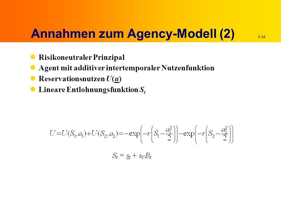 6.44 Annahmen zum Agency-Modell (2) Risikoneutraler Prinzipal Agent mit additiver intertemporaler Nutzenfunktion Reservationsnutzen U(u) Lineare Entlo