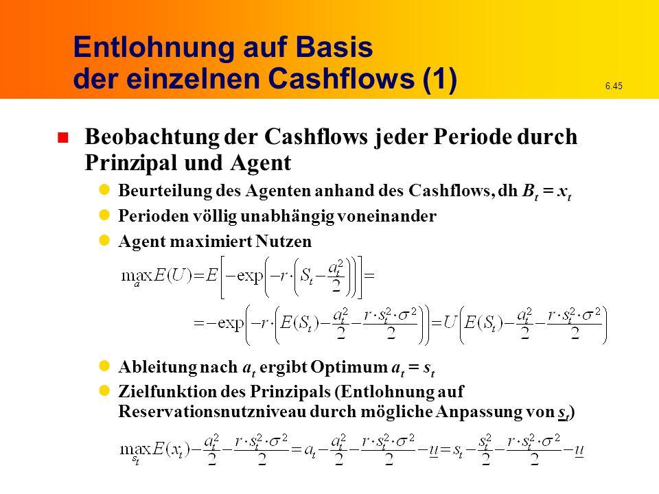 6.45 Entlohnung auf Basis der einzelnen Cashflows (1) n Beobachtung der Cashflows jeder Periode durch Prinzipal und Agent Beurteilung des Agenten anha