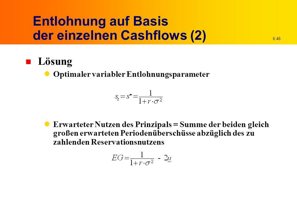 6.46 Entlohnung auf Basis der einzelnen Cashflows (2) n Lösung Optimaler variabler Entlohnungsparameter Erwarteter Nutzen des Prinzipals = Summe der beiden gleich großen erwarteten Periodenüberschüsse abzüglich des zu zahlenden Reservationsnutzens