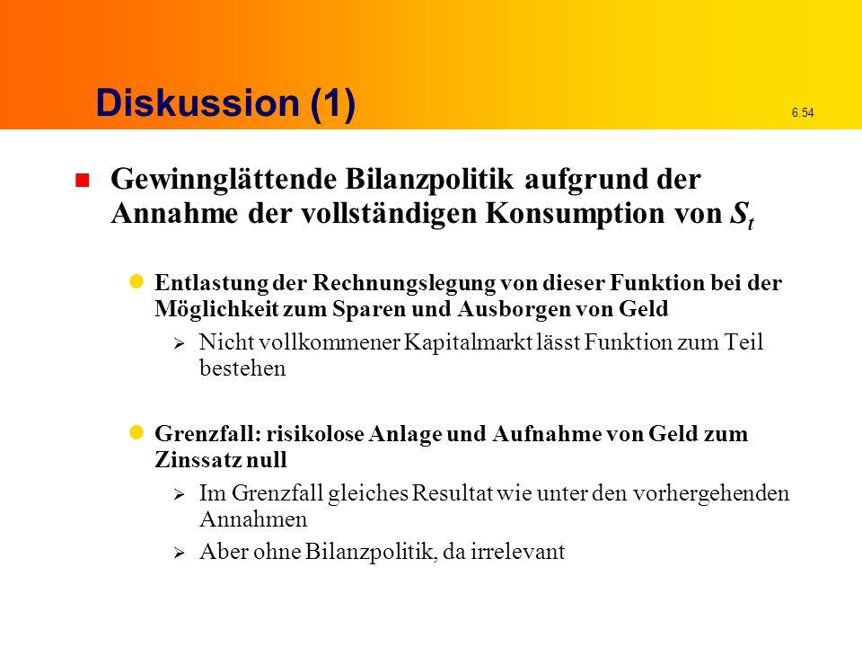 6.54 Diskussion (1) n Gewinnglättende Bilanzpolitik aufgrund der Annahme der vollständigen Konsumption von S t Entlastung der Rechnungslegung von dies