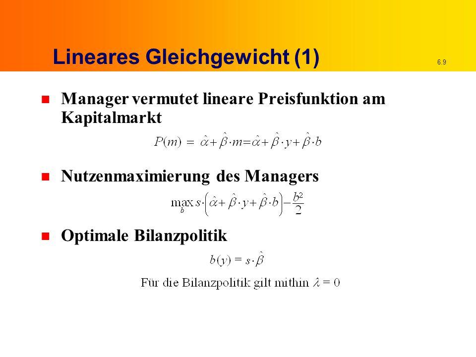 6.9 Lineares Gleichgewicht (1) n Manager vermutet lineare Preisfunktion am Kapitalmarkt n Nutzenmaximierung des Managers n Optimale Bilanzpolitik
