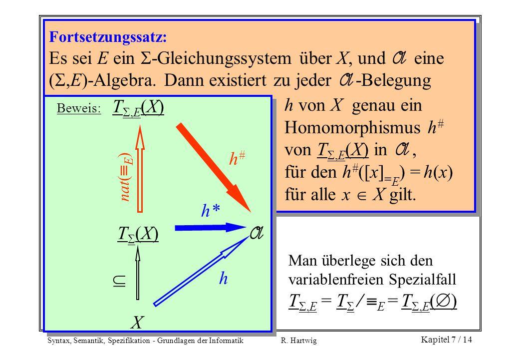 Syntax, Semantik, Spezifikation - Grundlagen der Informatik R. Hartwig Kapitel 7 / 14 Fortsetzungssatz: Es sei E ein  -Gleichungssystem über X, und A