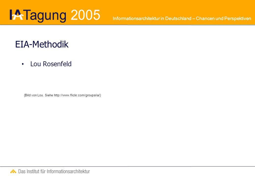 Informationsarchitektur in Deutschland – Chancen und Perspektiven EIA-Methodik Lou Rosenfeld {Bild von Lou.