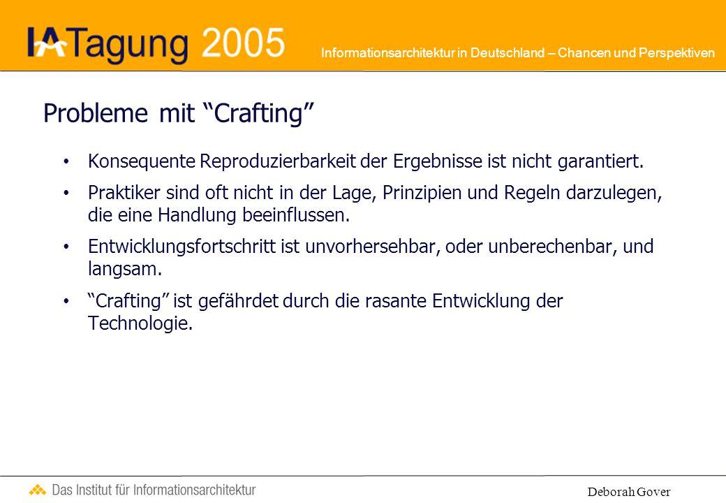 Informationsarchitektur in Deutschland – Chancen und Perspektiven Probleme mit Crafting Konsequente Reproduzierbarkeit der Ergebnisse ist nicht garantiert.