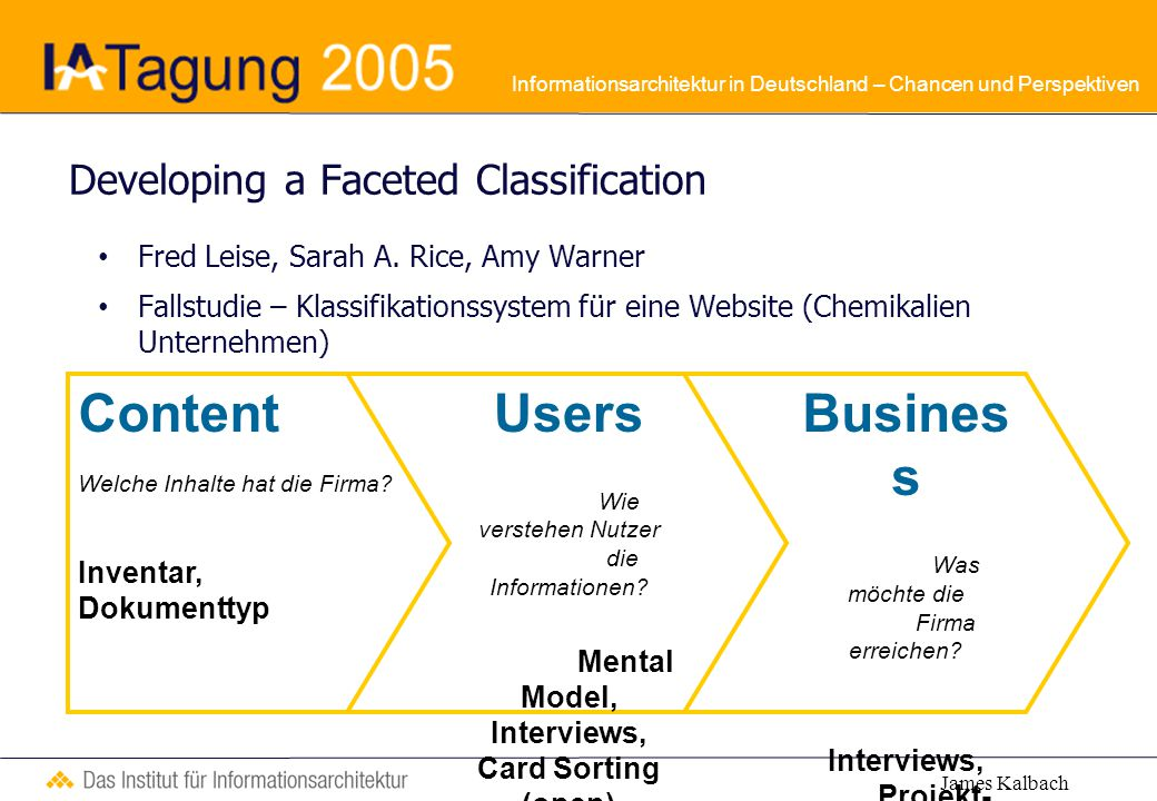 Informationsarchitektur in Deutschland – Chancen und Perspektiven Developing a Faceted Classification Fred Leise, Sarah A.