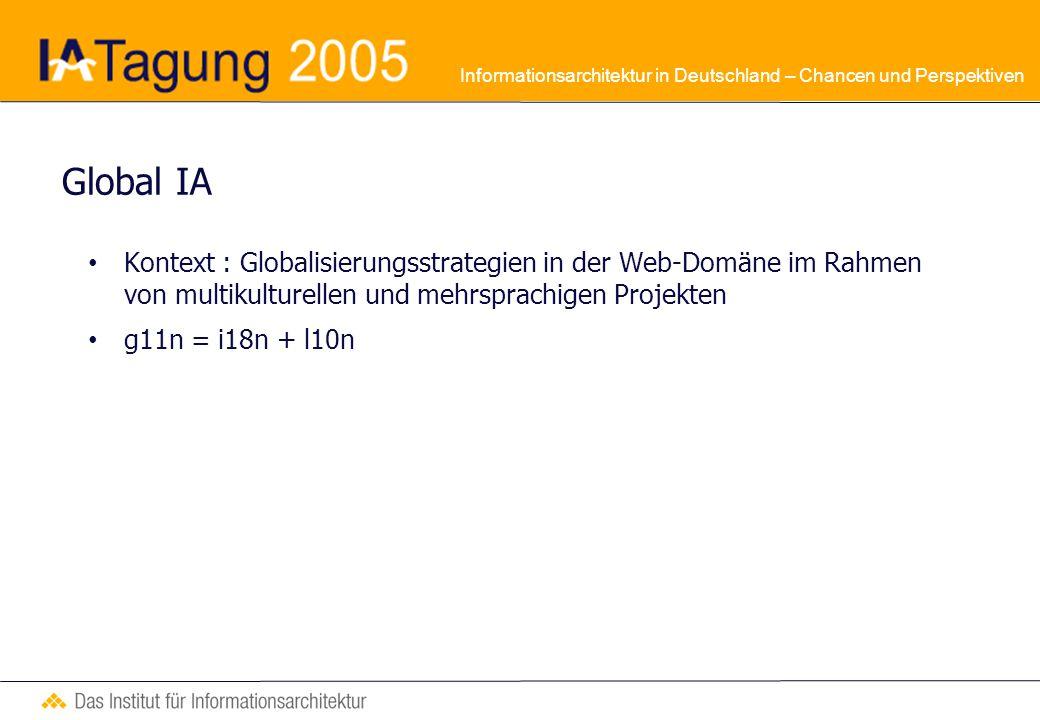 Informationsarchitektur in Deutschland – Chancen und Perspektiven Deborah Gover