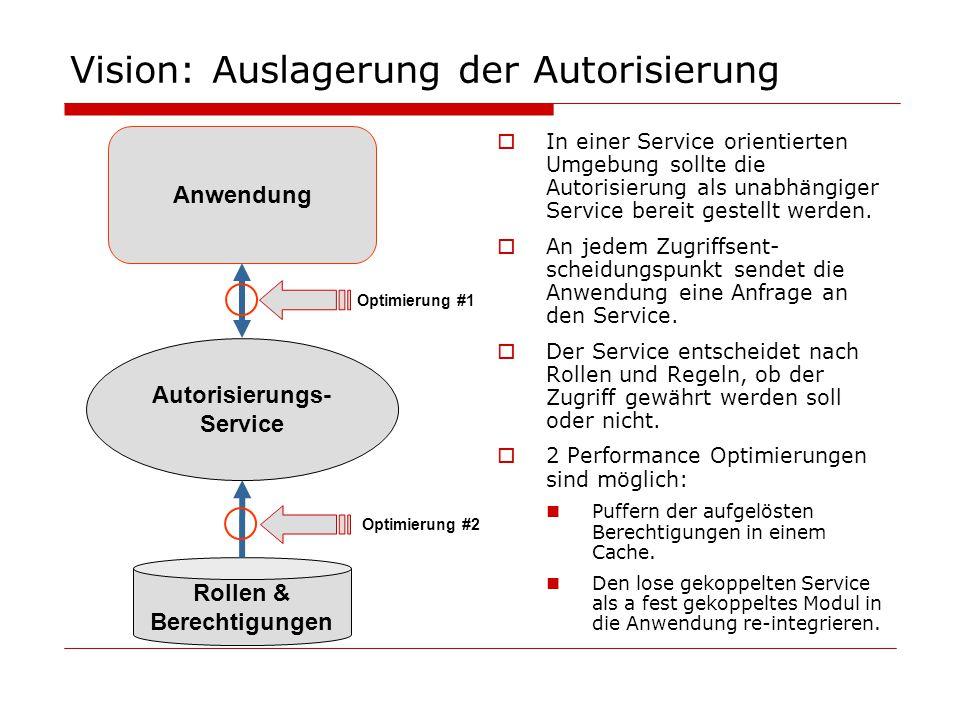 Vision: Auslagerung der Autorisierung  In einer Service orientierten Umgebung sollte die Autorisierung als unabhängiger Service bereit gestellt werde