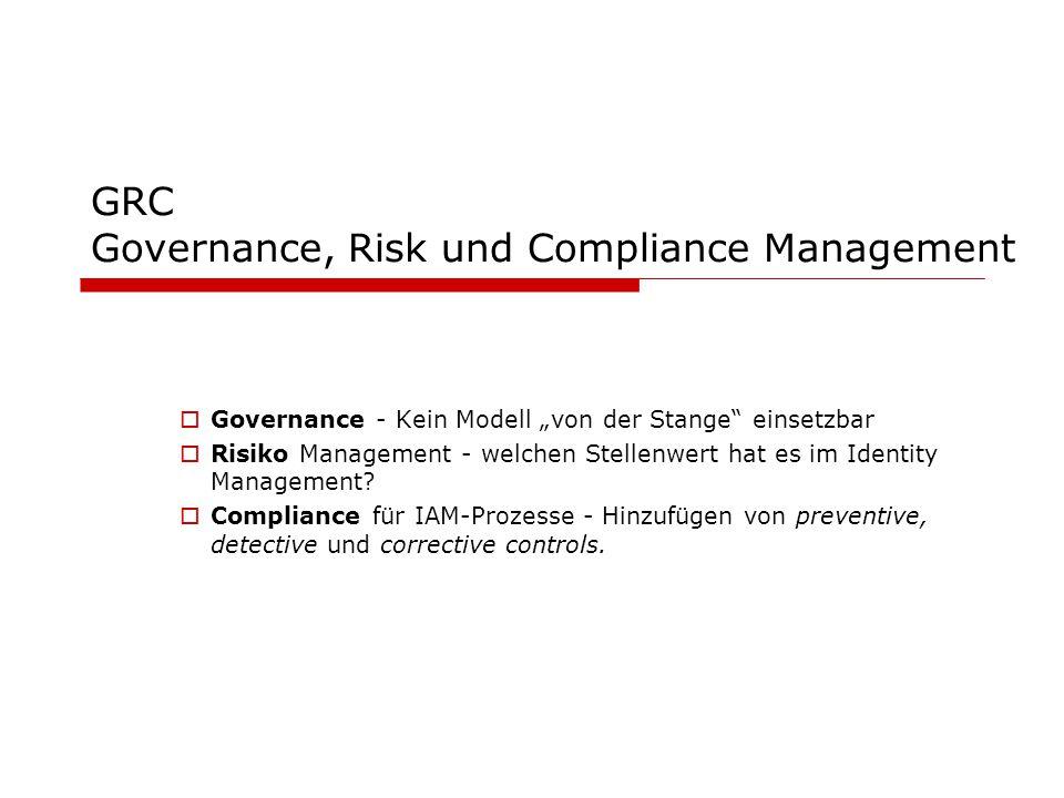 """GRC Governance, Risk und Compliance Management  Governance - Kein Modell """"von der Stange"""" einsetzbar  Risiko Management - welchen Stellenwert hat es"""