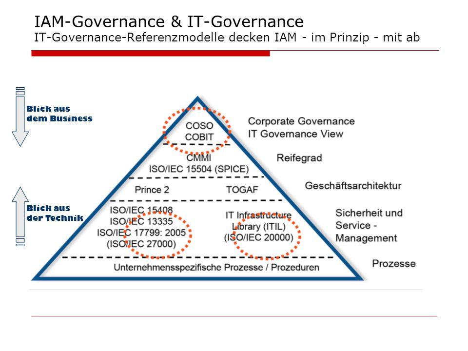 IAM-Governance & IT-Governance IT-Governance-Referenzmodelle decken IAM - im Prinzip - mit ab Blick aus der Technik Blick aus dem Business