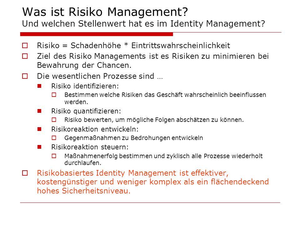 Was ist Risiko Management? Und welchen Stellenwert hat es im Identity Management?  Risiko = Schadenhöhe * Eintrittswahrscheinlichkeit  Ziel des Risi