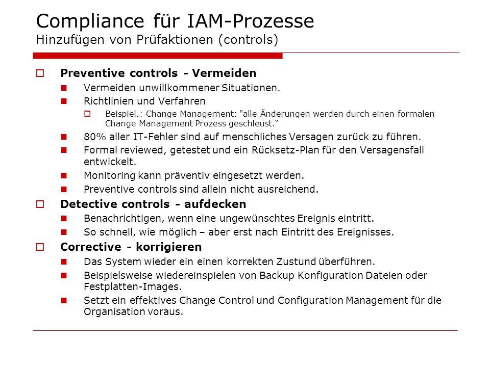 Compliance für IAM-Prozesse Hinzufügen von Prüfaktionen (controls)  Preventive controls - Vermeiden Vermeiden unwillkommener Situationen. Richtlinien