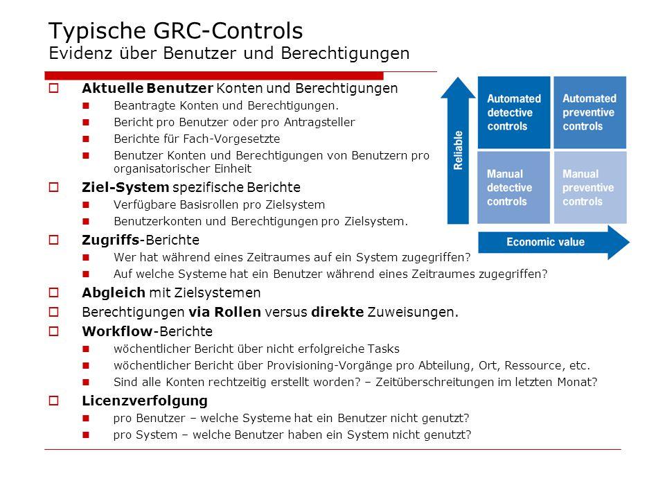 Typische GRC-Controls Evidenz über Benutzer und Berechtigungen  Aktuelle Benutzer Konten und Berechtigungen Beantragte Konten und Berechtigungen. Ber