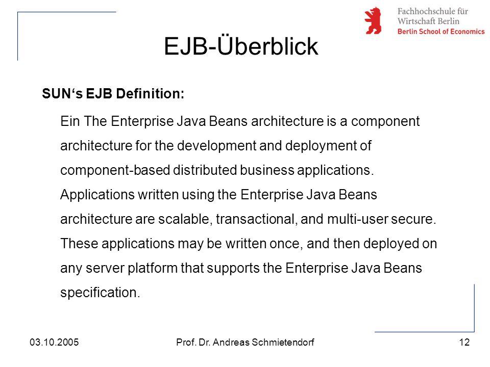 12 Prof. Dr. Andreas Schmietendorf03.10.2005 SUN's EJB Definition: Ein The Enterprise Java Beans architecture is a component architecture for the deve