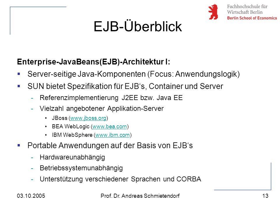13 Prof. Dr. Andreas Schmietendorf03.10.2005 Enterprise-JavaBeans(EJB)-Architektur I:  Server-seitige Java-Komponenten (Focus: Anwendungslogik)  SUN