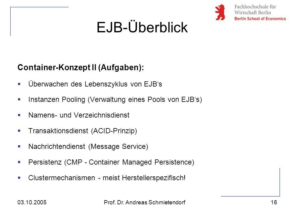 16 Prof. Dr. Andreas Schmietendorf03.10.2005 Container-Konzept II (Aufgaben):  Überwachen des Lebenszyklus von EJB's  Instanzen Pooling (Verwaltung
