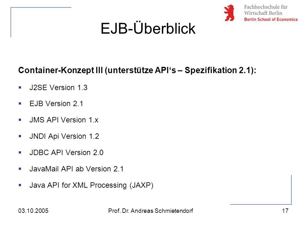 17 Prof. Dr. Andreas Schmietendorf03.10.2005 Container-Konzept III (unterstütze API's – Spezifikation 2.1):  J2SE Version 1.3  EJB Version 2.1  JMS