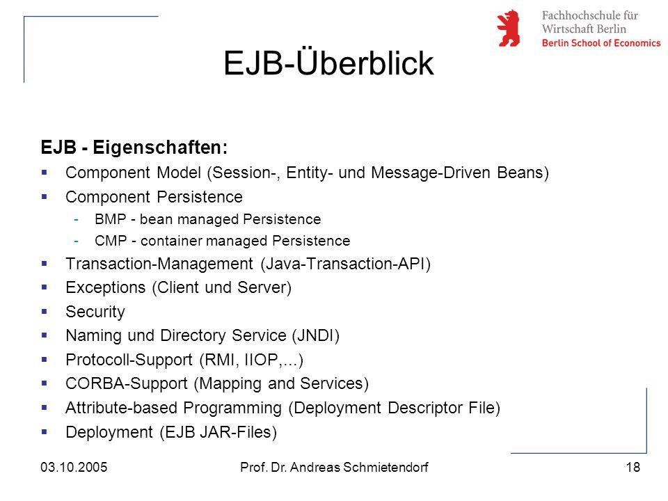 18 Prof. Dr. Andreas Schmietendorf03.10.2005 EJB - Eigenschaften:  Component Model (Session-, Entity- und Message-Driven Beans)  Component Persisten