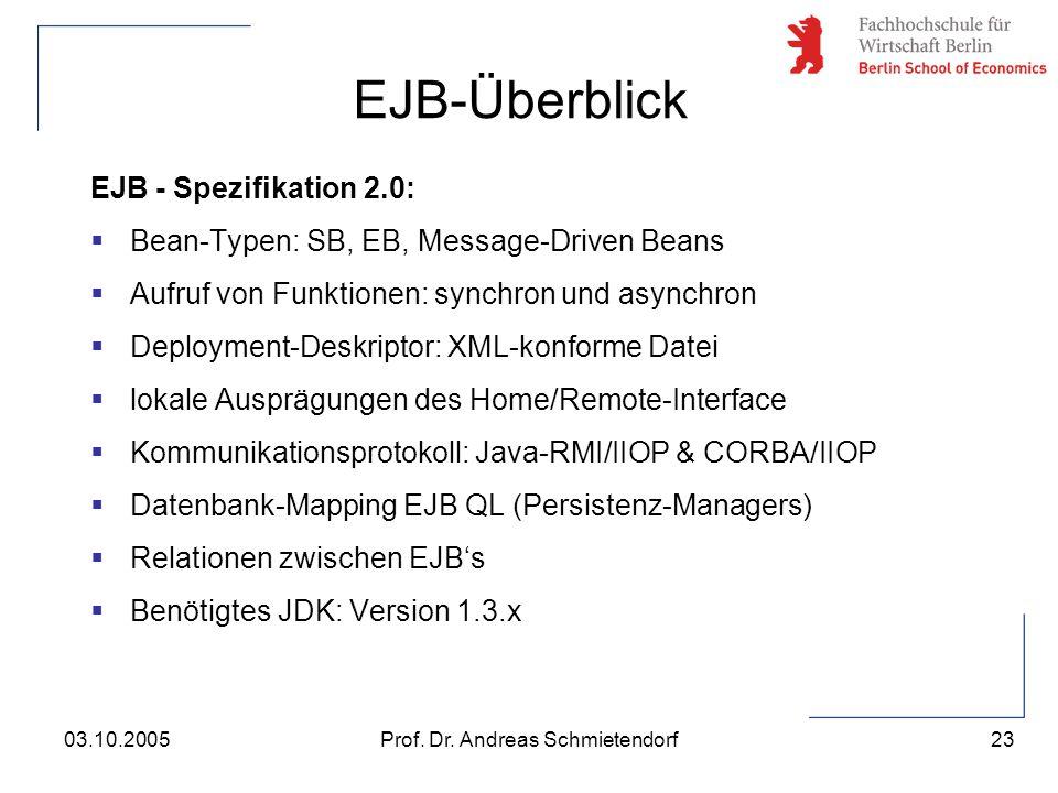 23 Prof. Dr. Andreas Schmietendorf03.10.2005 EJB - Spezifikation 2.0:  Bean-Typen: SB, EB, Message-Driven Beans  Aufruf von Funktionen: synchron und