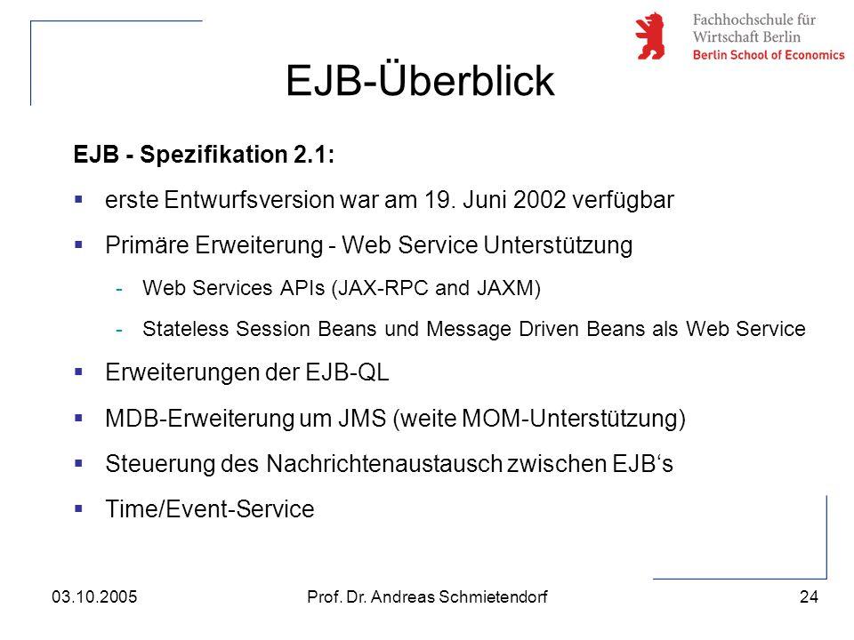 24 Prof. Dr. Andreas Schmietendorf03.10.2005 EJB - Spezifikation 2.1:  erste Entwurfsversion war am 19. Juni 2002 verfügbar  Primäre Erweiterung - W