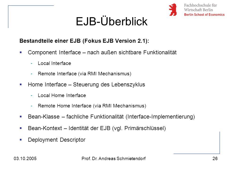 26 Prof. Dr. Andreas Schmietendorf03.10.2005 Bestandteile einer EJB (Fokus EJB Version 2.1):  Component Interface – nach außen sichtbare Funktionalit
