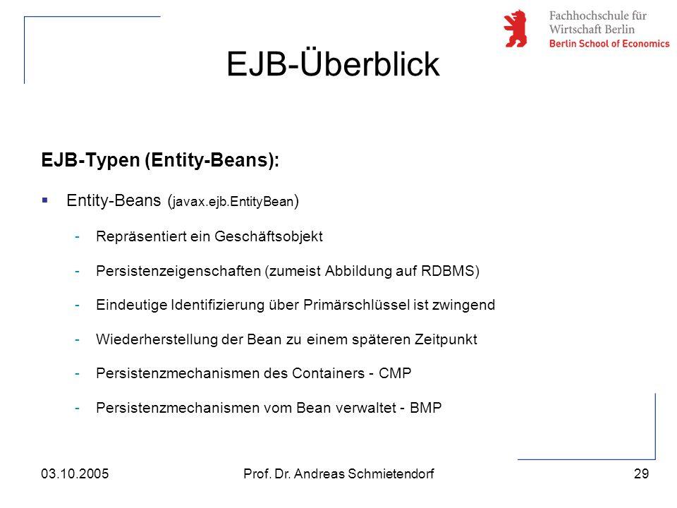 29 Prof. Dr. Andreas Schmietendorf03.10.2005 EJB-Typen (Entity-Beans):  Entity-Beans ( javax.ejb.EntityBean ) -Repräsentiert ein Geschäftsobjekt -Per
