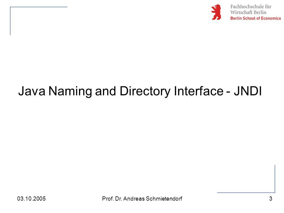3 Prof. Dr. Andreas Schmietendorf03.10.2005 Java Naming and Directory Interface - JNDI