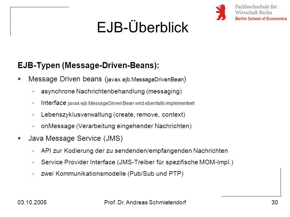 30 Prof. Dr. Andreas Schmietendorf03.10.2005 EJB-Typen (Message-Driven-Beans):  Message Driven beans ( javax.ejb.MessageDrivenBean ) -asynchrone Nach