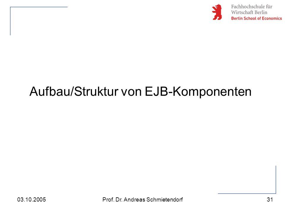 31 Prof. Dr. Andreas Schmietendorf03.10.2005 Aufbau/Struktur von EJB-Komponenten