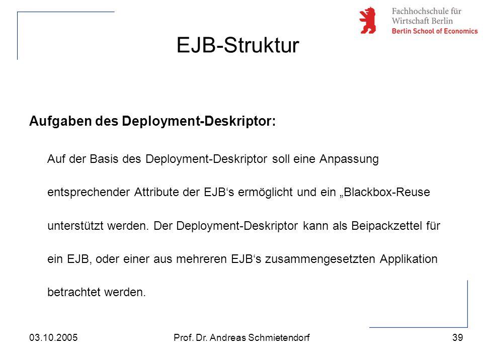39 Prof. Dr. Andreas Schmietendorf03.10.2005 Aufgaben des Deployment-Deskriptor: Auf der Basis des Deployment-Deskriptor soll eine Anpassung entsprech