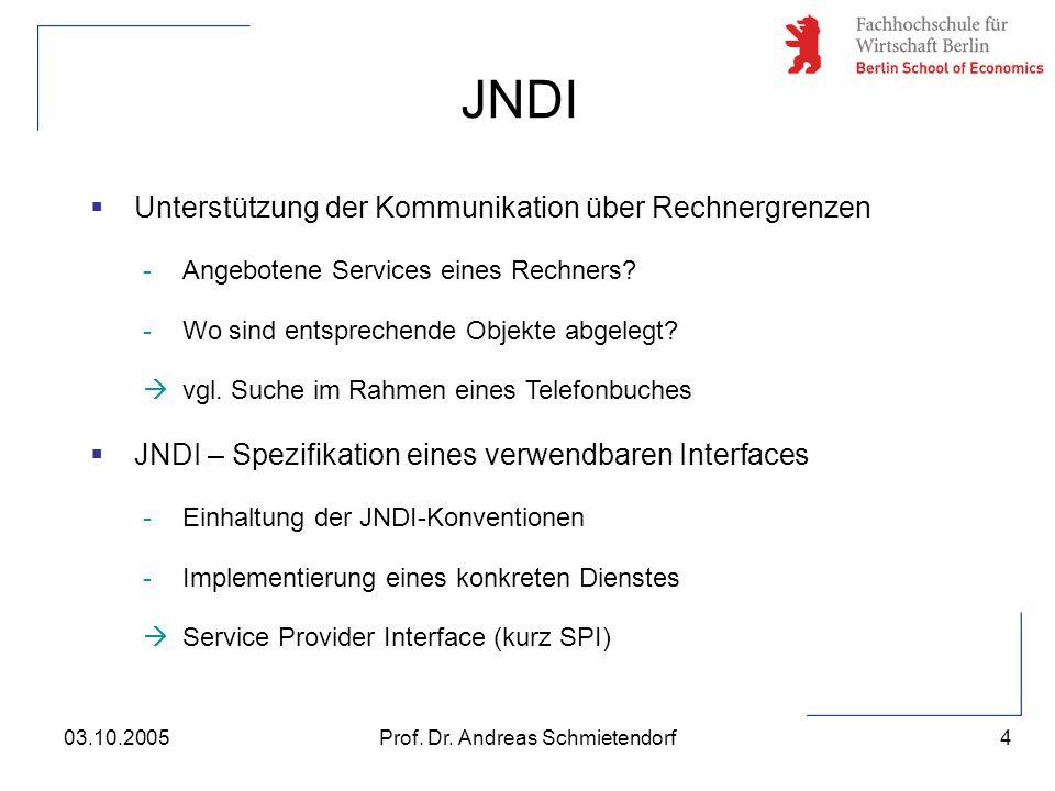 4 Prof. Dr. Andreas Schmietendorf03.10.2005  Unterstützung der Kommunikation über Rechnergrenzen -Angebotene Services eines Rechners? -Wo sind entspr