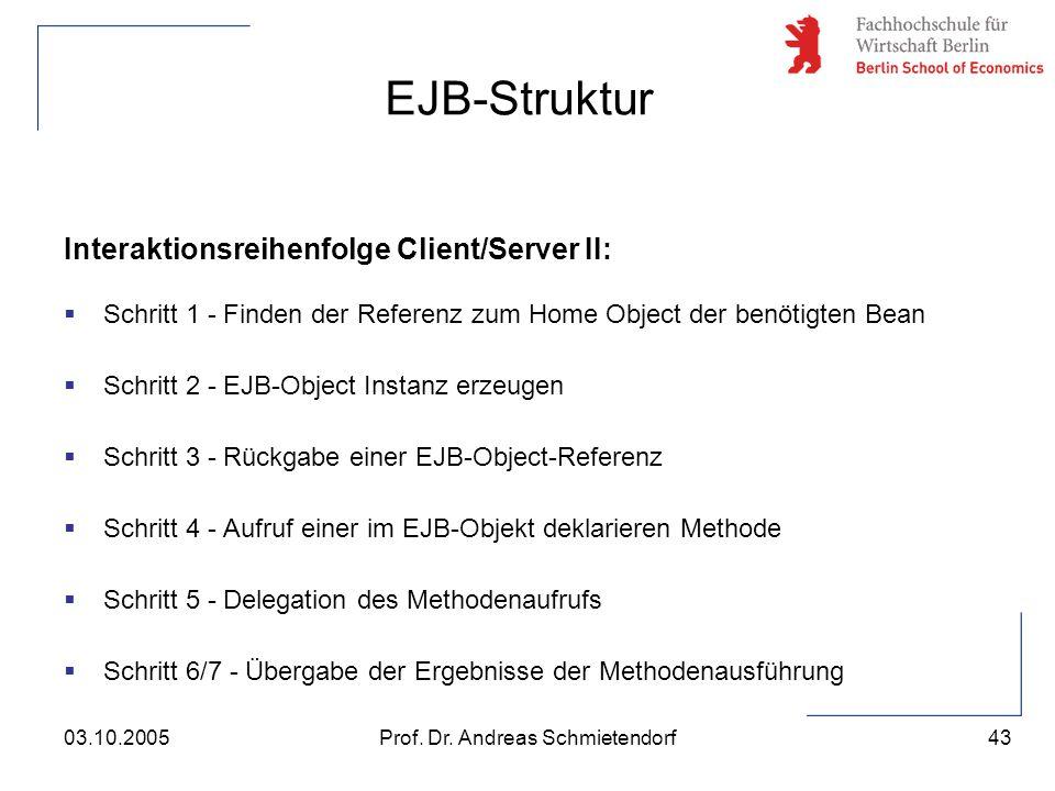 43 Prof. Dr. Andreas Schmietendorf03.10.2005 Interaktionsreihenfolge Client/Server II:  Schritt 1 - Finden der Referenz zum Home Object der benötigte