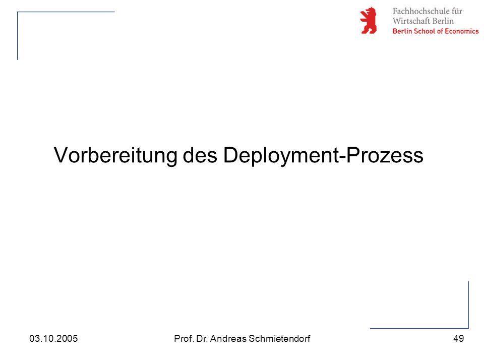 49 Prof. Dr. Andreas Schmietendorf03.10.2005 Vorbereitung des Deployment-Prozess