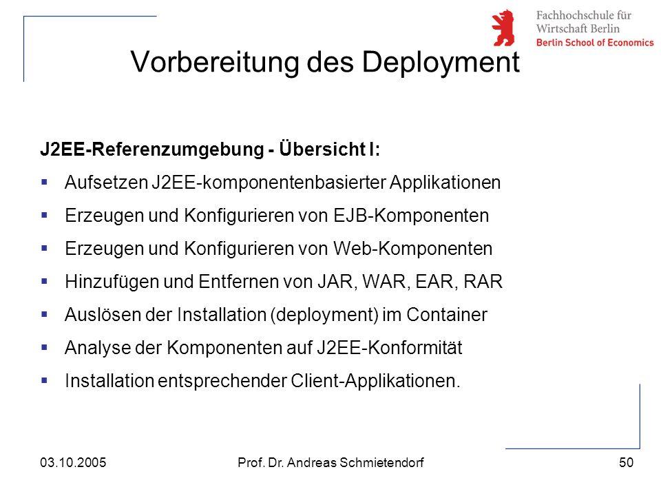 50 Prof. Dr. Andreas Schmietendorf03.10.2005 J2EE-Referenzumgebung - Übersicht I:  Aufsetzen J2EE-komponentenbasierter Applikationen  Erzeugen und K