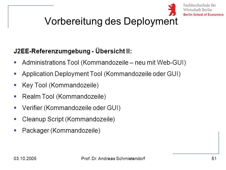51 Prof. Dr. Andreas Schmietendorf03.10.2005 J2EE-Referenzumgebung - Übersicht II:  Administrations Tool (Kommandozeile – neu mit Web-GUI)  Applicat