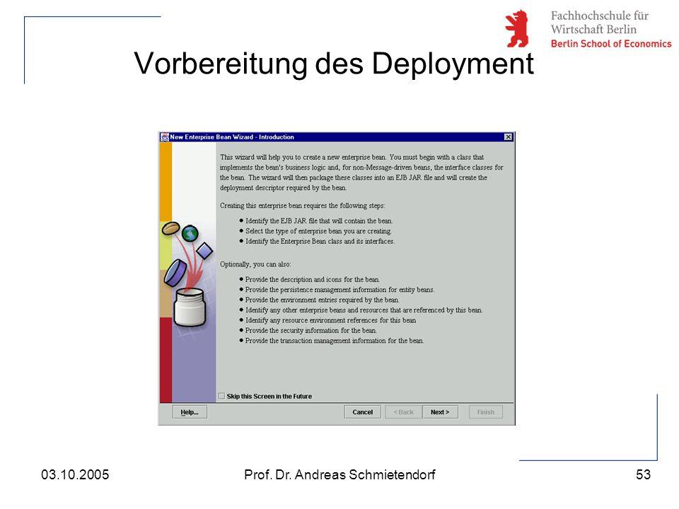 53 Prof. Dr. Andreas Schmietendorf03.10.2005 Vorbereitung des Deployment
