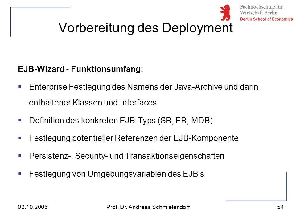54 Prof. Dr. Andreas Schmietendorf03.10.2005 EJB-Wizard - Funktionsumfang:  Enterprise Festlegung des Namens der Java-Archive und darin enthaltener K